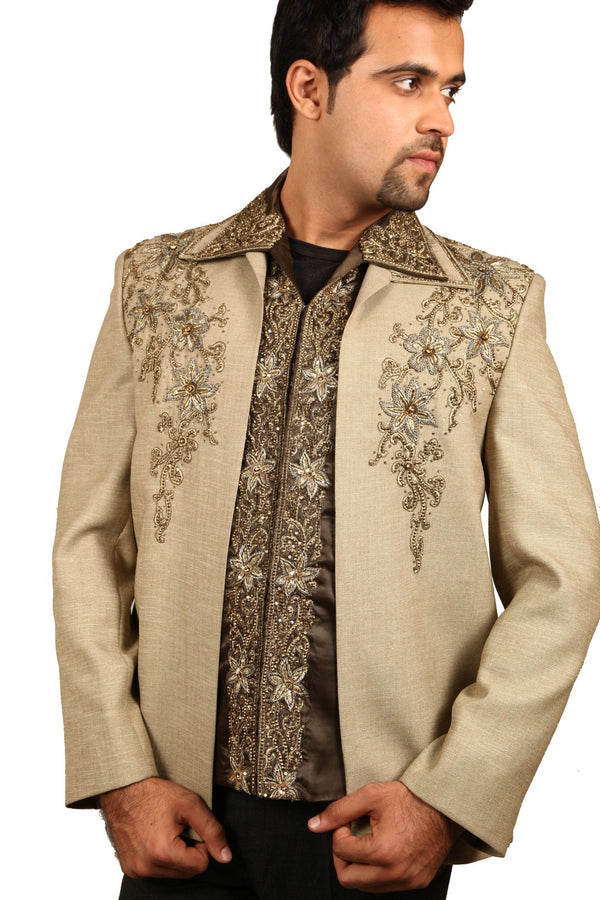 Stunning 3 Piece Baguette Traditional Indian Jodhpuri Suit Sherwani For Men
