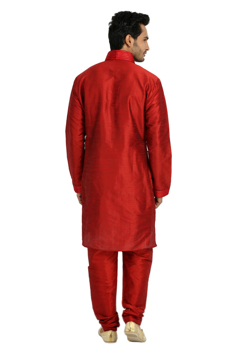 Red Pathani Kurta Sherwani - Indian Ethnic Wear for Men