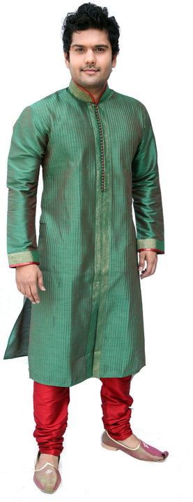 Green Pathani Kurta Sherwani - Indian Ethnic Wear for Men