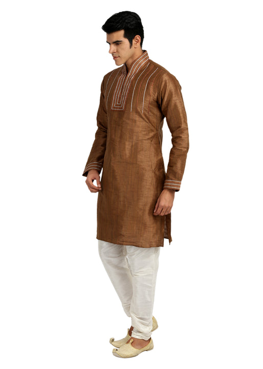 Classy Coffee Silk Kurta Sherwani - Indian Ethnic Wear for Men