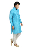 High Fashion Cool Blue Kurta Sherwani - Indian Ethnic Wear for Men