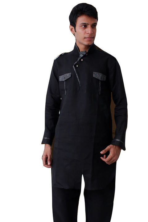 Beautiful Black Pathani Kurta Set Sherwani - Indian Ethnic Wear for Men