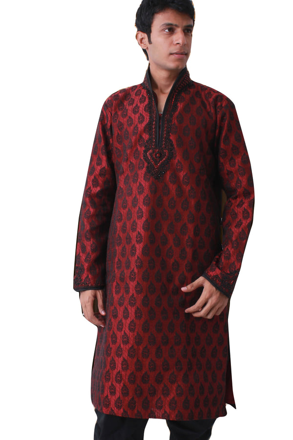 High Neck Sangeet Kurta Set Sherwani - Indian Ethnic Wear for Men