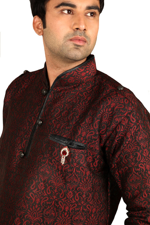 Stylish Maroon Silk Kurta Sherwani - Indian Ethnic Wear for Men