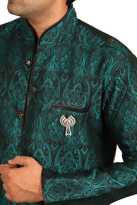Beautiful Peacock Green Kurta Sherwani - Indian Ethnic Wear for Men