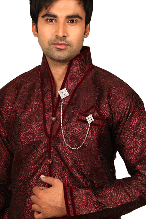 Marvelous Maroon Sangeet Kurta Sherwani - Indian Ethnic Wear for Men