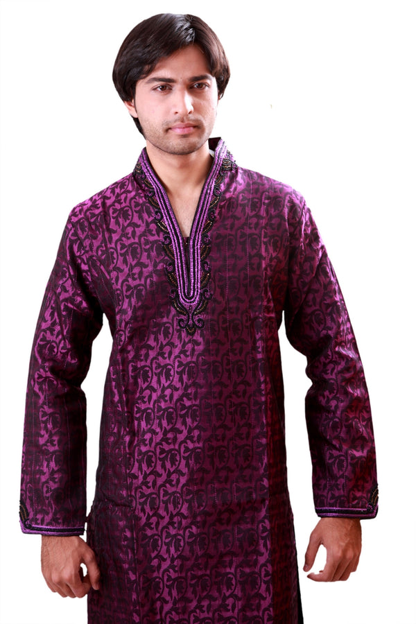 Violet Kurta Pajama Sherwani - Indian Ethnic Wear for Men
