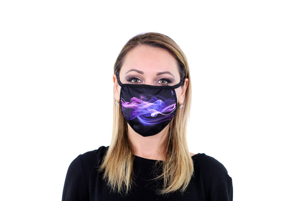 3 Pk Printed Purple Flame Multi Color Reusable Face Mask Unisex Breathable Washable 2 Layer Ice Silk & Cotton Fabric