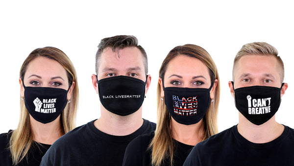 4 Pk BLM Black Lives Matter Face Mask Reusable I Can't Breath Face Cover for Men and Women