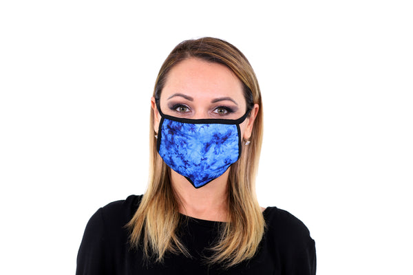 3 Pk Premium Blue Tie Dye Print Reusable Face Mask Unisex Breathable Washable 2 Layer Ice Silk and Cotton Fabric