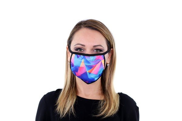 3 Pk Geometric Print Multi Color Reusable Face Mask Unisex Breathable Washable 2 Layer Ice Silk & Cotton Fabric