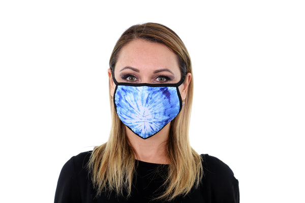 3 Pk Tie Dye Print Reusable Face Mask Unisex Breathable Washable 2 Layer Ice Silk and Cotton Fabric