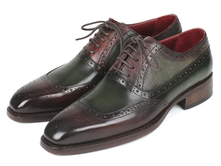 Paul Parkman Goodyear Welted Oxfords Brown & Green Shoes (ID#BW926GR)