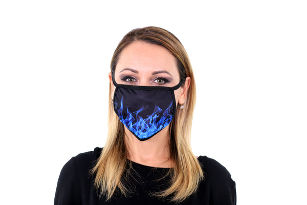 3 Pk Printed Cool Blue Fire Multi Color Reusable Face Mask Unisex Breathable Washable 2 Layer Ice Silk & Cotton Fabric