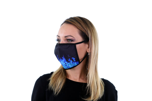 3 Pk Printed Blue Fire Multi Color Reusable Face Mask Unisex Breathable Washable 2 Layer Ice Silk & Cotton Fabric