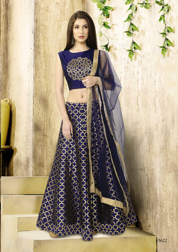 Royal Blue and Gold Crop Top & Skirt Style Silk Lehenga