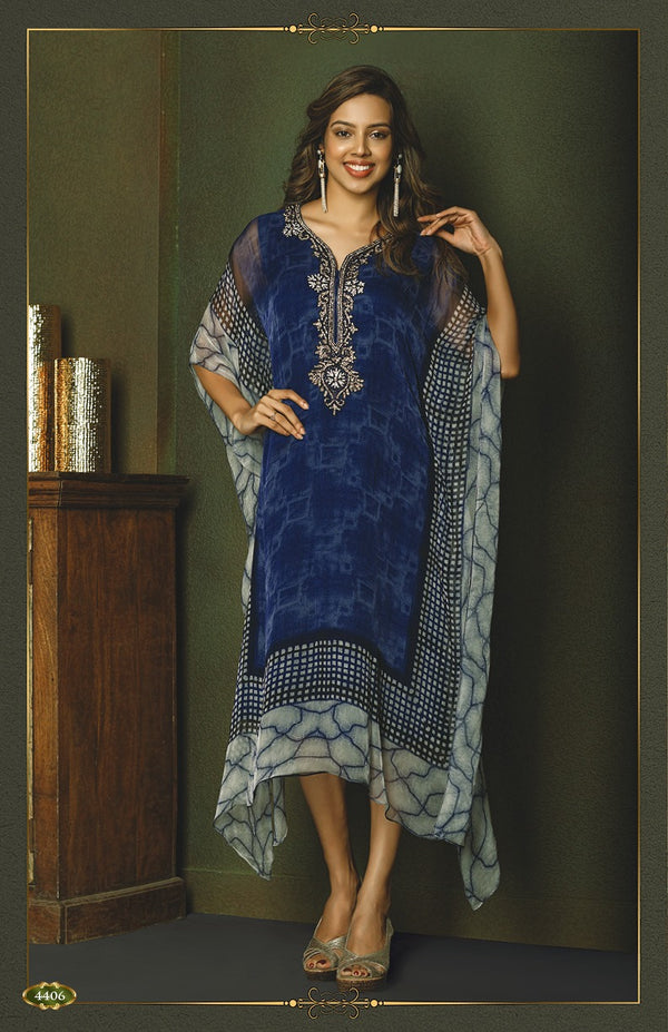 Modern Royal Blue Kaftan Style Long Kurti