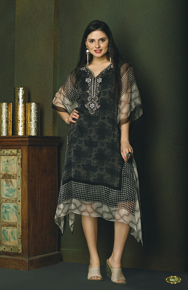 Mystical Grey and Black Kaftan Style Long Kurti