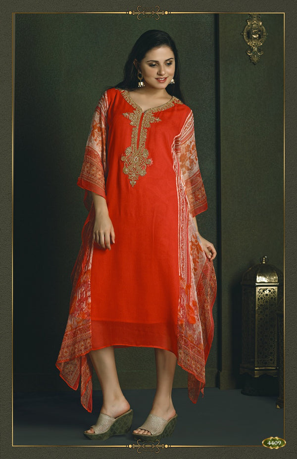 Passion Red Kaftan Style Long Kurti