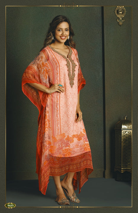 Soft Pink and Orange Kaftan Style Long Kurti