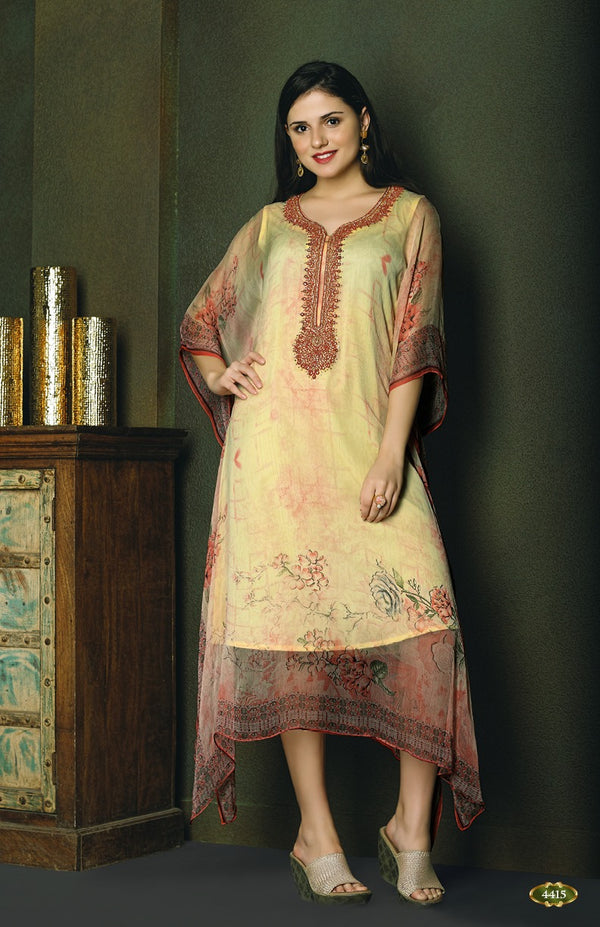 Elegant Creme and Pink Kaftan Style Long Kurti