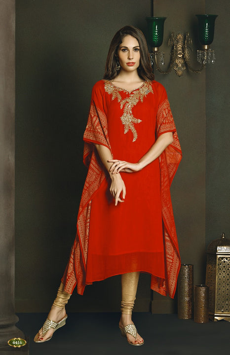 Show Stopper Red Kaftan Style Long Kurti