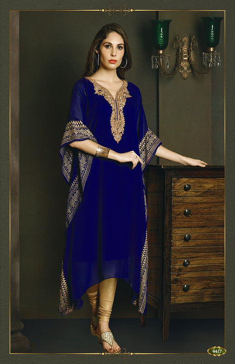 Stunning Royal Blue Kaftan Style Long Kurti