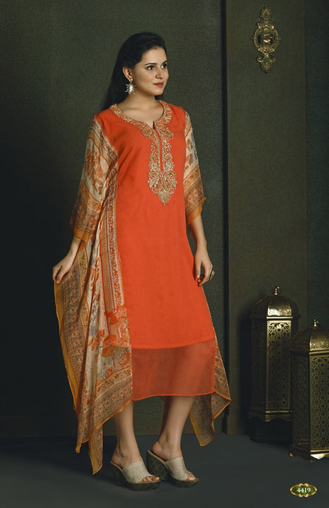 Modern Orange Kaftan Style Long Kurti