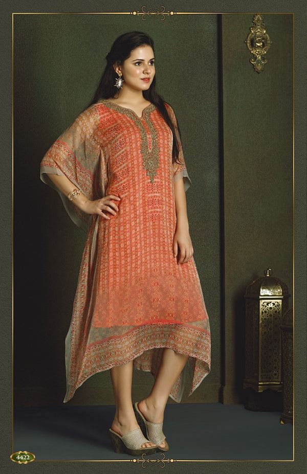 Sweet Peach Kaftan Style Long Kurti