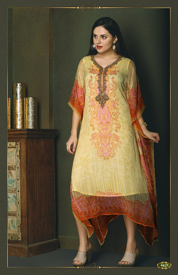 Flirty Yellow Kaftan Style Long Kurti