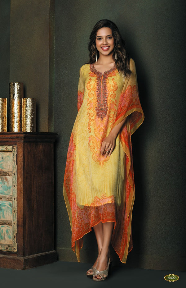 Mango Yellow and Orange Kaftan Style Long Kurti