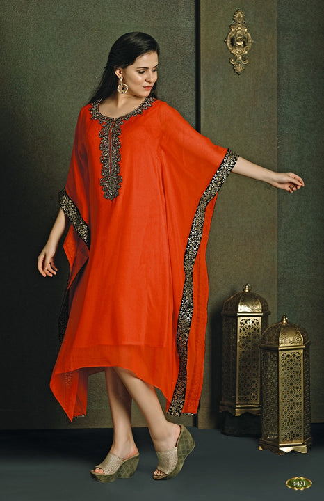Party Wear Orange Kaftan Style Long Kurti