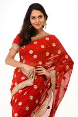 Delicate Red Wedding Sari
