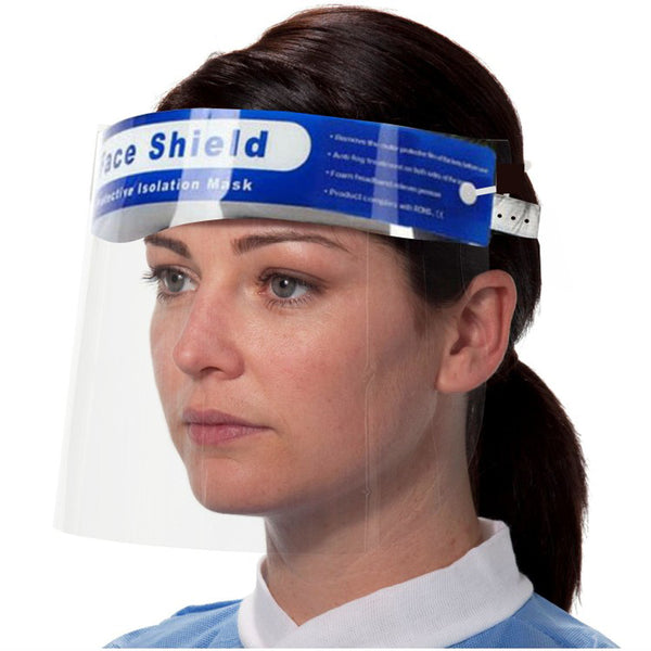 10 Pk Unisex Protective Face Shield with Clear Wide Visor with Adjustable Elastic Band