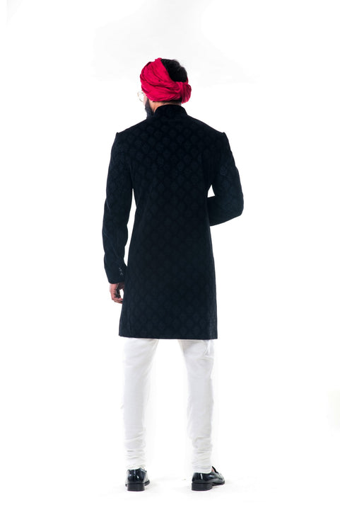 Black Velvet Self Embroidered Sherwani Set
