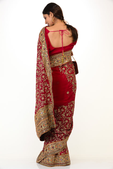 Rich Red Gold Indian Wedding Sari