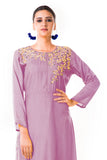 Mauve Sequin Work Silk Tunic
