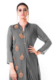 Grey Hand Embroidered Cowl Tunic Dress