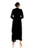 Black Hand Embroidered Cowl Tunic Dress