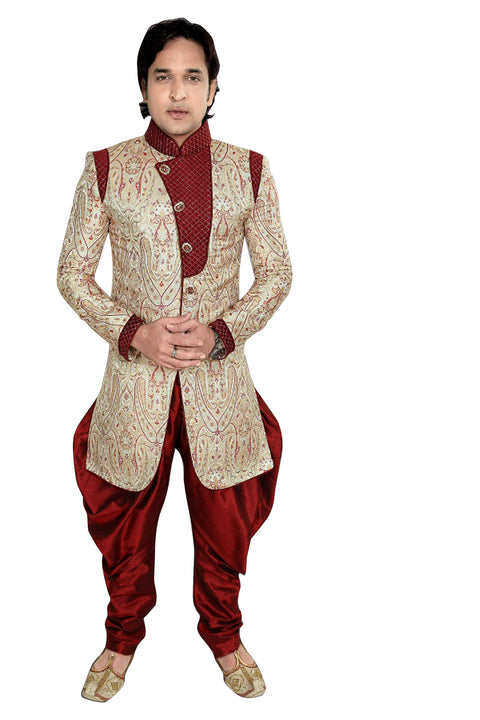 Gray Blended Cotton Silk Indian Wedding Indo-Western Sherwani For Men