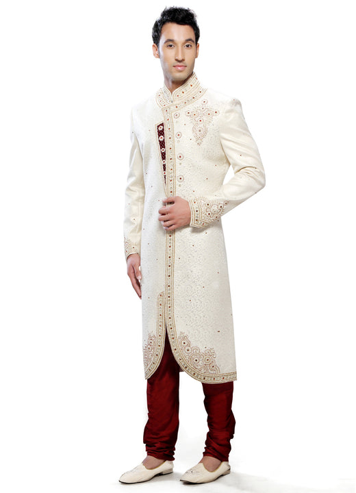 Elegant Cream Fabric Silk Indian Wedding Indo-Western Sherwani For Men