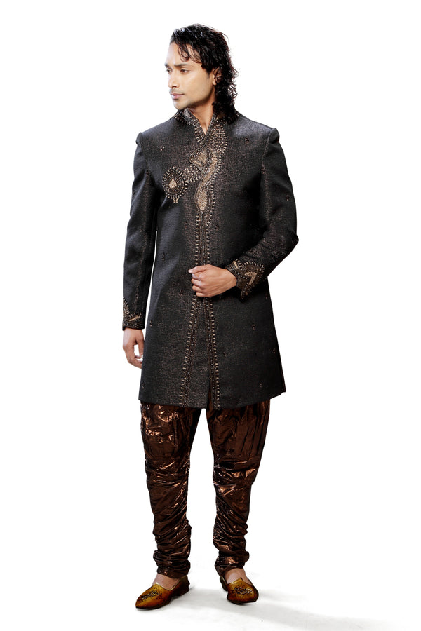 Black Jacquard Silk Indian Wedding Indo-Western Sherwani For Men