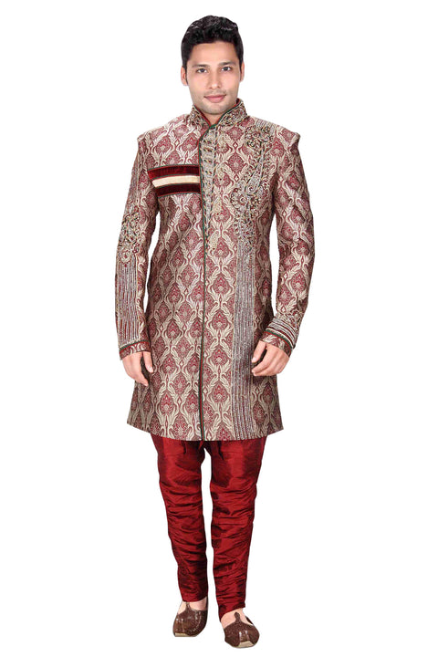 Violet Brocade Silk Indian Wedding Indo-Western Sherwani For Men