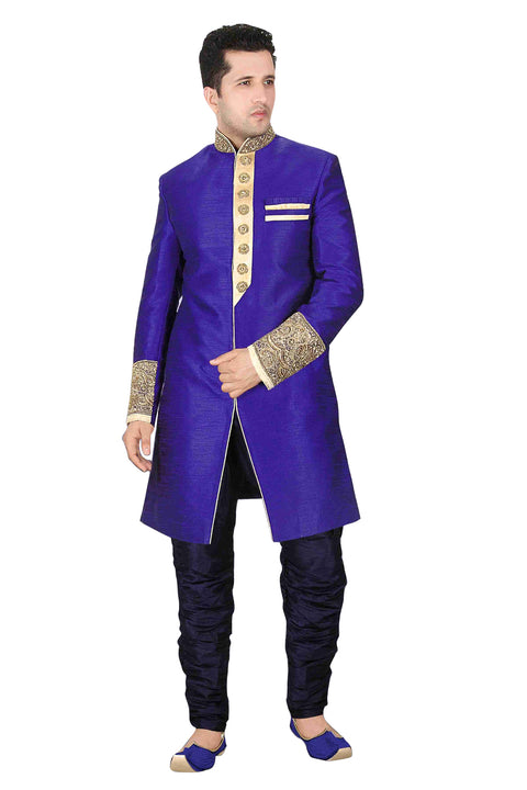 Blue Brocade Silk Indian Wedding Indo-Western Sherwani For Men