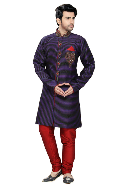Violet & Maroon Art Silk Indian Wedding Indo-Western Sherwani For Men