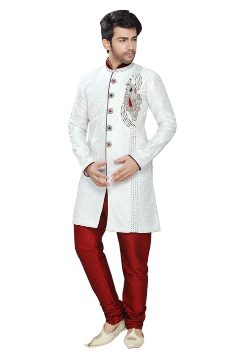 White Jacquard Silk Indian Wedding Indo-Western Sherwani For Men