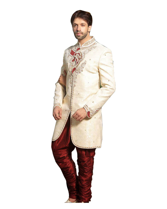 Cream Jacquard Silk Indian Wedding Indo-Western Sherwani For Men