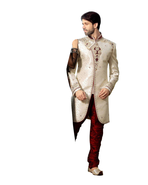 White & Maroon Dupioni Silk Indian Wedding Indo-Western Sherwani For Men