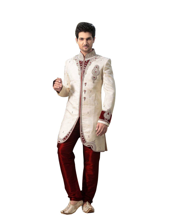 Cream & Maroon Dupioni Silk Indian Wedding Indo-Western Sherwani For Men