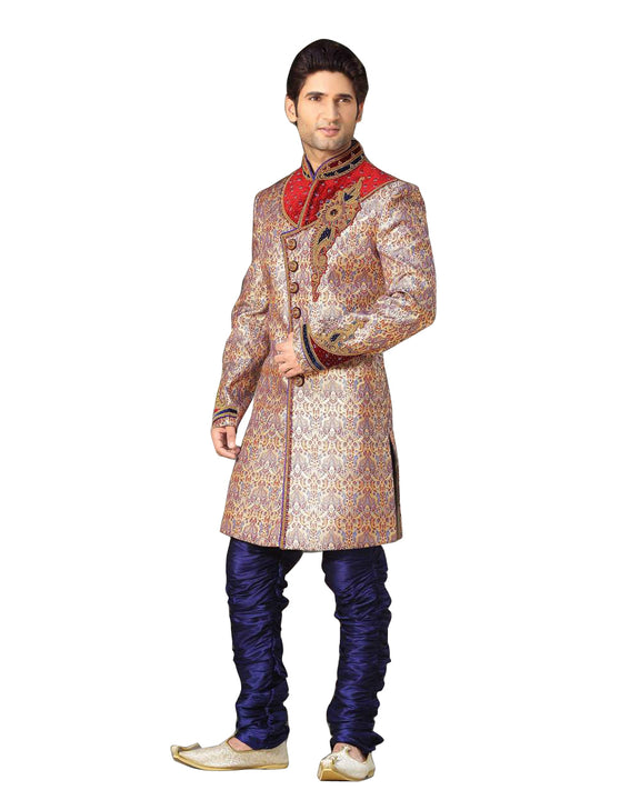 Beige & Blue Brocade Silk Indian Wedding Indo-Western Sherwani For Men